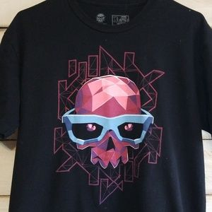 JINX Graphic Tee Black with Pink Skull Med